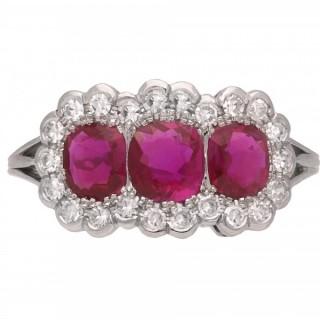 Edwardian Burmese ruby and diamond triple cluster ring, English, circa 1915.