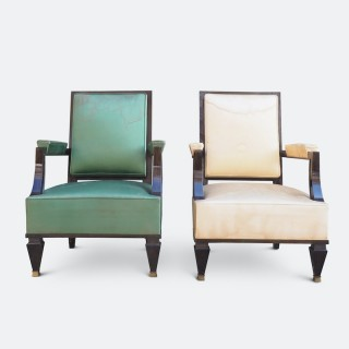 A Fine Pair of Grand Armchairs Attributed to Andre Arbus