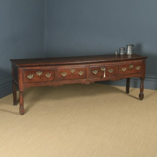 Antique English Lancashire / Cheshire Georgian Oak 7ft Low Dresser Base Sideboard (Circa 1750)