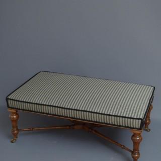 Superb Victorian Walnut Low Stool Coffee Table