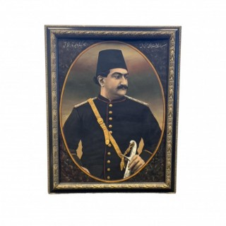 PAINTING DEPICTS PRINCE MAS'UD MIRZA, YAMIN AL-DAWLA ZILL AL-SULTAN (1850-1918), SIGNED BY IBRAHIM, QAJAR IRAN, DATED AH 1308/AD 1890-91