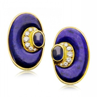 Vintage 20ct Gold, Lapis Lazuli, Diamond and Sapphire Earrings c.1970s by Bulgari