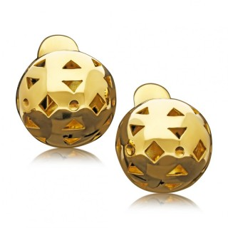 Super Cool Vintage Gold Sphere Cut Out Clip Earrings circa 1980s by Bulgari