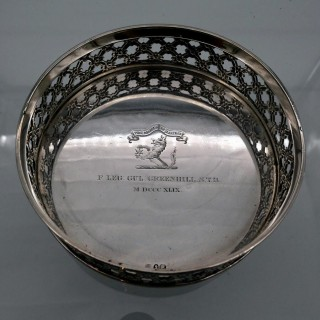 Early 19th Century Antique George IV Sterling Silver Wine Coaster London 1824 Benjamin Smith III