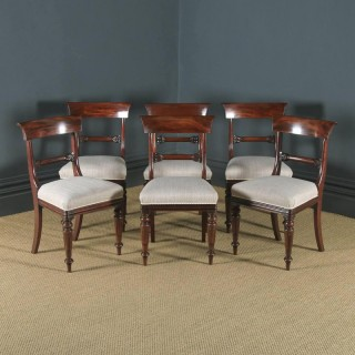 Antique English William IV Set of Six 6 Mahogany Bar Back Dining Chairs (Circa 1835)