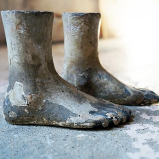 An Early 19thC Pair of Carved Pine & Painted Gesso Mannequin Feet