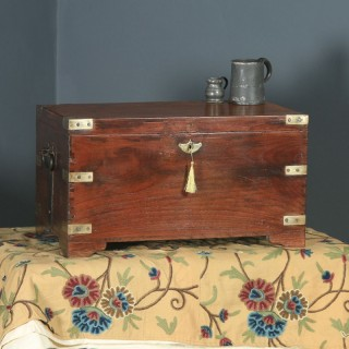 Antique Anglo-Indian Victorian Colonial Teak & Brass Mounted Campaign Chest / Trunk / Box (Circa 1870)
