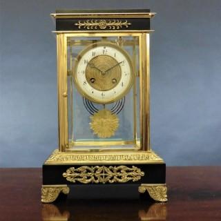 French Four Glass Mantel Clock
