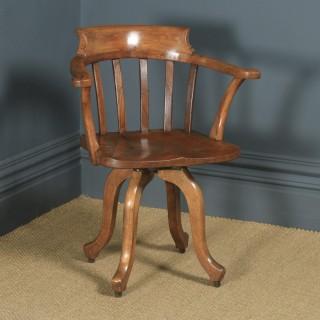Antique English Edwardian Beech, Birch & Elm Revolving Office Desk Arm Chair (Circa 1910)