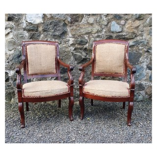Pair of Early 19th Century French Library Chairs