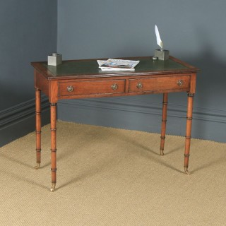 Antique English Regency Style Edwardian Oak & Green Leather Occasional Side Hall Writing Table Desk (Circa 1910)
