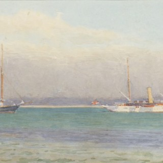 Alma Claude BurLton Cull (1880-1931) - Miranda and other RYS yachts off The Castle, Cowes