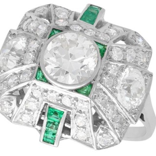 2.25ct Diamond and 0.27ct Emerald, Platinum Cluster Ring - Art Deco - Vintage Circa 1935