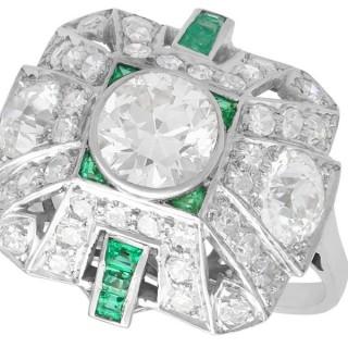 2.25ct Diamond and 0.27ct Emerald, Platinum Cluster Ring - Art Deco - Vintage Circa 1935