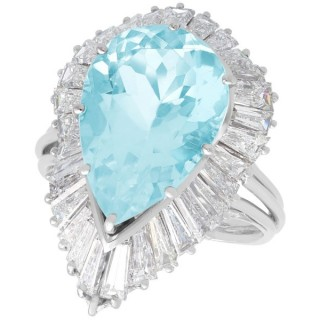 8.02ct Aquamarine and 4.32ct Diamond, Platinum Dress Ring - Vintage Circa 1950