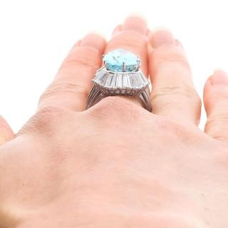 8.02ct Aquamarine and 4.32ct Diamond, Platinum Dress Ring - Vintage Circa 1950