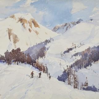Arthur James Wetherall Burgess, R.I., R.O.I., R.B.C., R.S.M.A. (1879-1957) - The crest of the hill, Zermatt