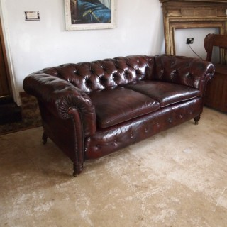 Chesterfield Sofa Settee Victorian Chestnut leather c1870