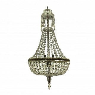 AN EDWARDIAN CUT GLASS TENT & WATERFALL CHANDELIER
