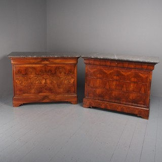 Antique Matched Pair of Walnut Chest of Drawers