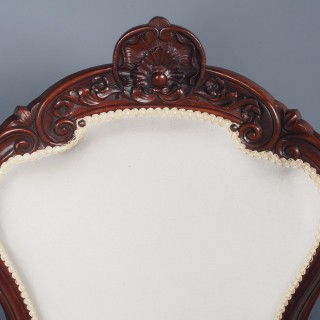 Antique Set of 4 Carved Mahogany Armchairs