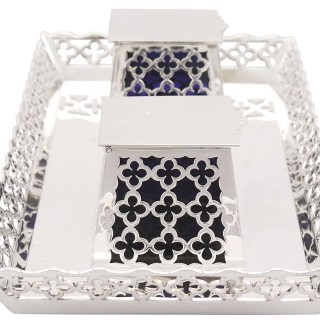 Sterling Silver Galleried Double Inkstand - Antique George V (1919)