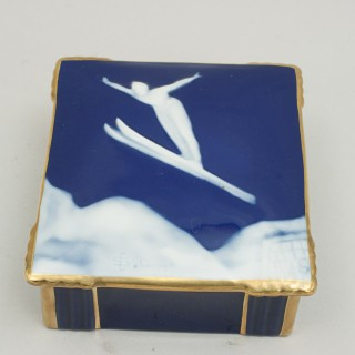 Camille Tharaud French Limoges Gold Trim Trinket or Jewelry Box, Ski Jumper