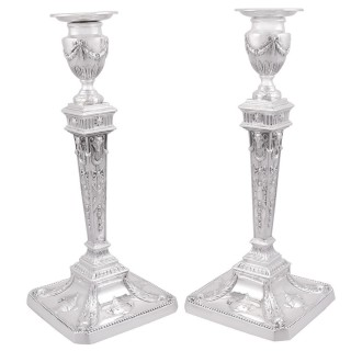 Sterling Silver Candlesticks - Antique George V (1921)