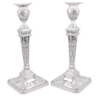 Sterling Silver Candlesticks - Antique George V (1921)