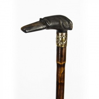 Antique Greyhound Pommel & Malacca Walking Stick Cane 19th Century