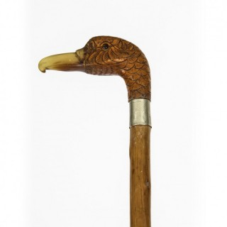 Antique Walking Stick Cane with Carved Duck Head 19th C