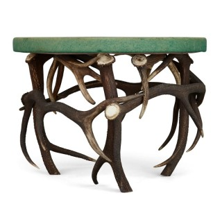 German Antler Circular Coffee Table with Green Felt Top