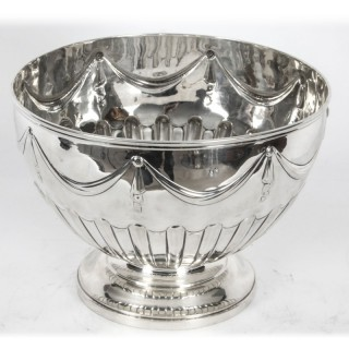 Antique silver punch bowl champagne cooler Barnards 1888 19th C