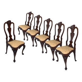 Outstanding set of six George II walnut dining chairs
