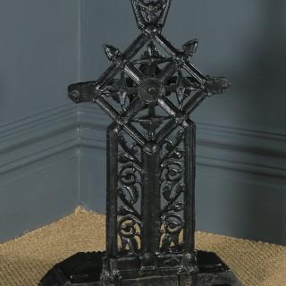 Antique English Victorian Cast Iron Painted Stick & Umbrella Hall Stand (Circa 1890)