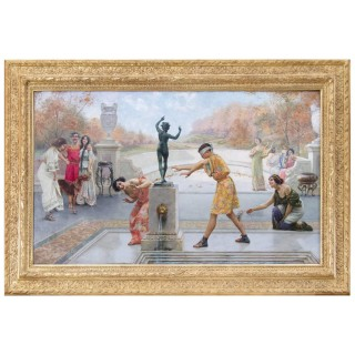 'Blind Man's Bluff', Large Early 20th Century Italian Oil Painting by Emilio Vasarri