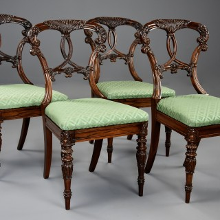 Superb quality early 19thc set of four rosewood chairs of Indian influence
