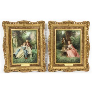 Antique Pair Oil on Canvas Courtiers Paintings by Raimund Von Wichera 19th C