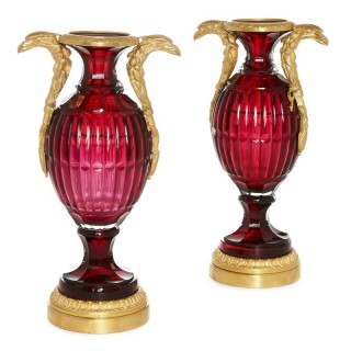 Two Antique Neoclassical Style Russian Cut Glass and Ormolu Vases