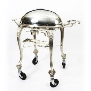 Antique Art Deco Silver Plated Beef Carving Trolley Cart C1930
