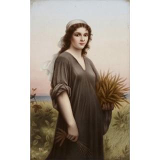 Late 19th Century Painted KPM Porcelain Plaque by Dittrich, after Landelle
