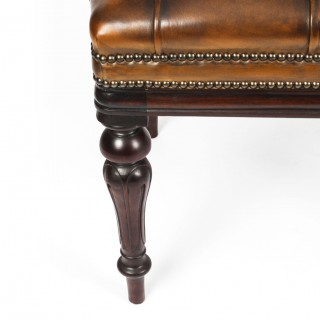 Antique Leather Stool Ottoman Coffee table Window Seat 19th C