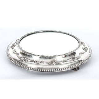 Antique Victorian Silver Plated Mirrored Top Cake Stand 19th C