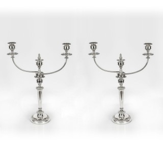 Antique Pair Regency Old Sheffield Silver Plate Candelabra C1820 19th C