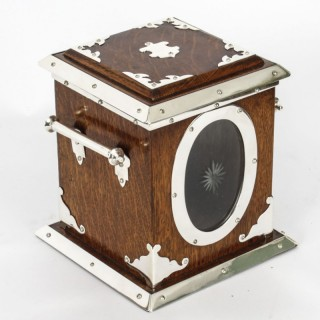 Antique Victorian Silver Plate Oak & Glass Biscuit Sweet Box 19th C