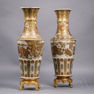 A Pair of Japanese Satsuma Vases Raised on Gilt-Bronze Bases