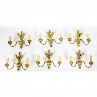Antique Set of 6 French Louis XVI Style Twin Branch Wall Lights C1920