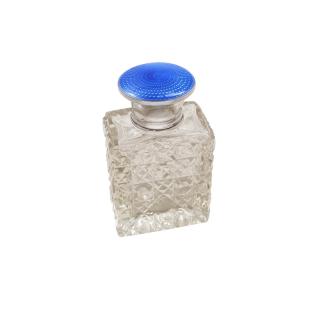 Antique Sterling Silver & Blue Enamel Perfume / Scent Bottle 1926