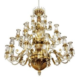 Large Antique Late 19th Century French Cut Glass and Bronze Chandelier
