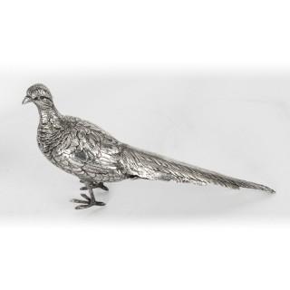 Antique Pair o German 800 Silver Pheasants 19th Century